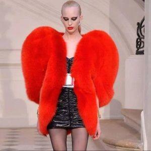 New Dolls Kill Red Heart Faux Fur Coat Size: M